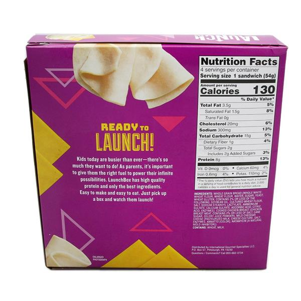 Launch Box Kickin' Chicken Cheddar Sandwiches 4CT