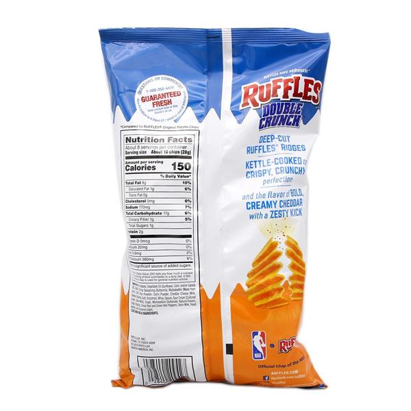 Ruffles Double Crunch Potato Chips Zesty Cheddar