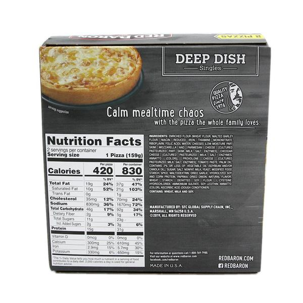 Red Baron Deep Dish Singels, Four Cheese Pizza, 2Ct