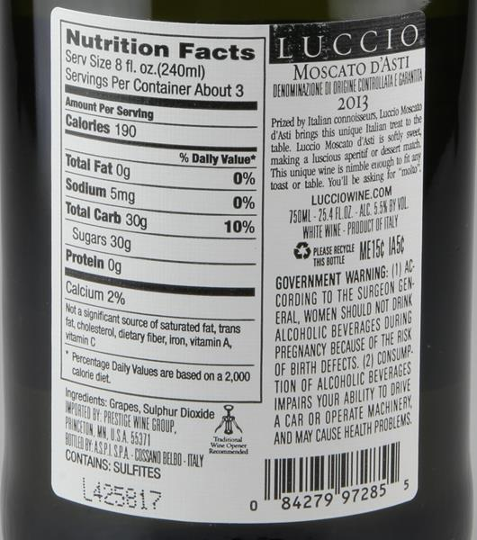 Luccio Moscato D'Asti. prev. next. Description; Nutrition Facts; Ingredients