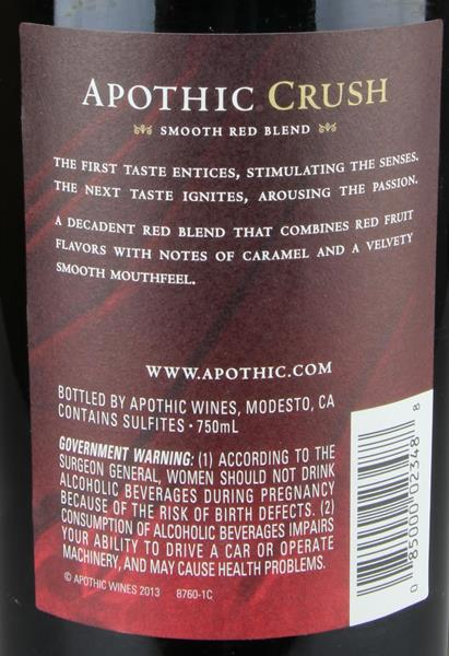 Apothic Crush Smooth Red Blend. prev. next. Description; Nutrition Facts; Ingredients