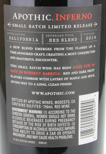 Apothic Inferno Red Blend Wine. prev. next. Description; Nutrition Facts; Ingredients