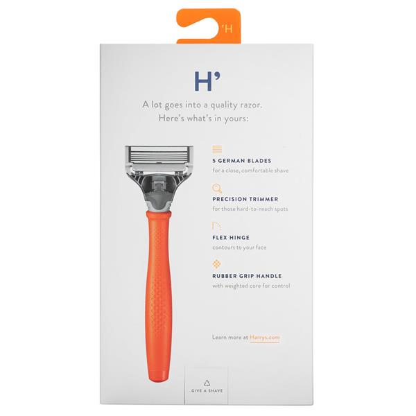 Harry's Men's 5 Blade Razor With 2ct Cartridges - Bright Orange